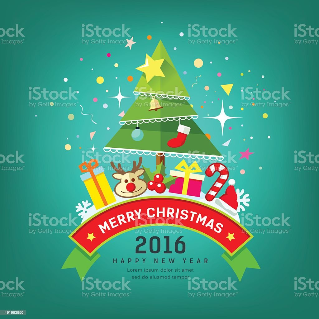 Merry Christmas Tree and happy new year design vector art illustration