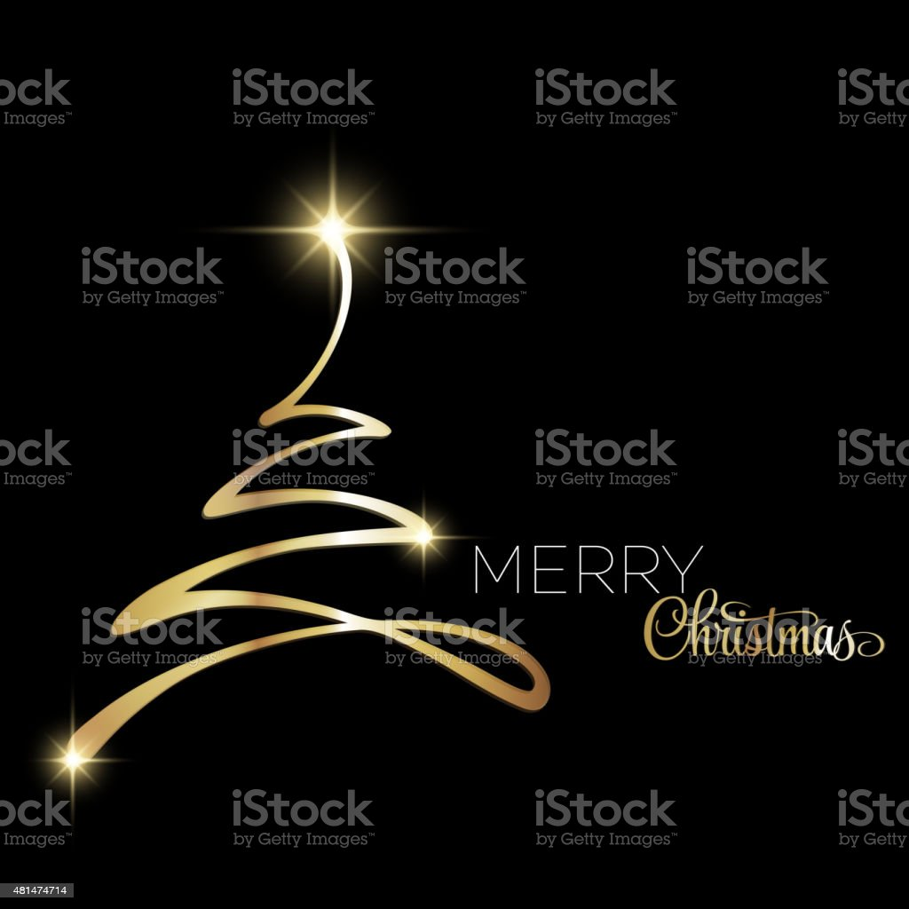 Merry Christmas tree greeting card. Paper design vector art illustration