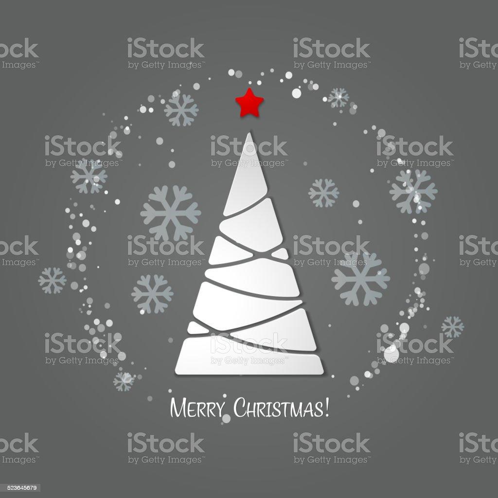 Merry Christmas Tree Greeting Card Paper Design stock vector art ...