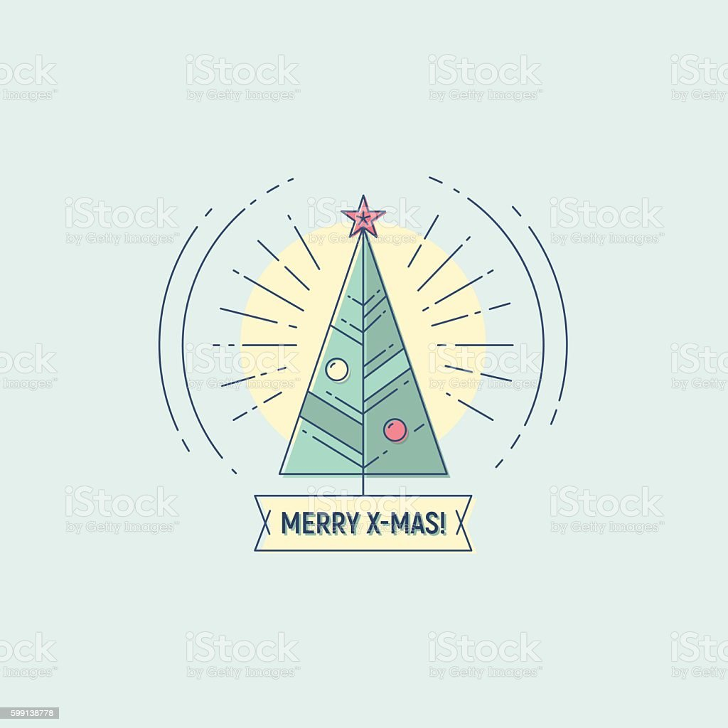 Merry Christmas vector flat line illustration vector art illustration