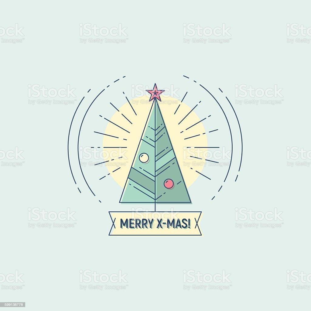 Merry Christmas vector flat line illustration vector art illustration
