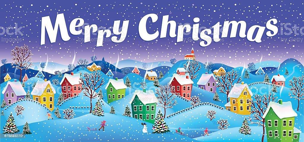 merry christmas. vector art illustration