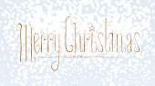 Merry Christmas vector seasonal design element with snow flakes