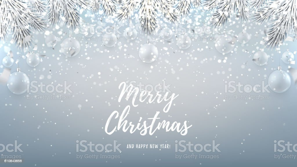 Merry Christmas web banner with glass toys royalty-free stock vector art