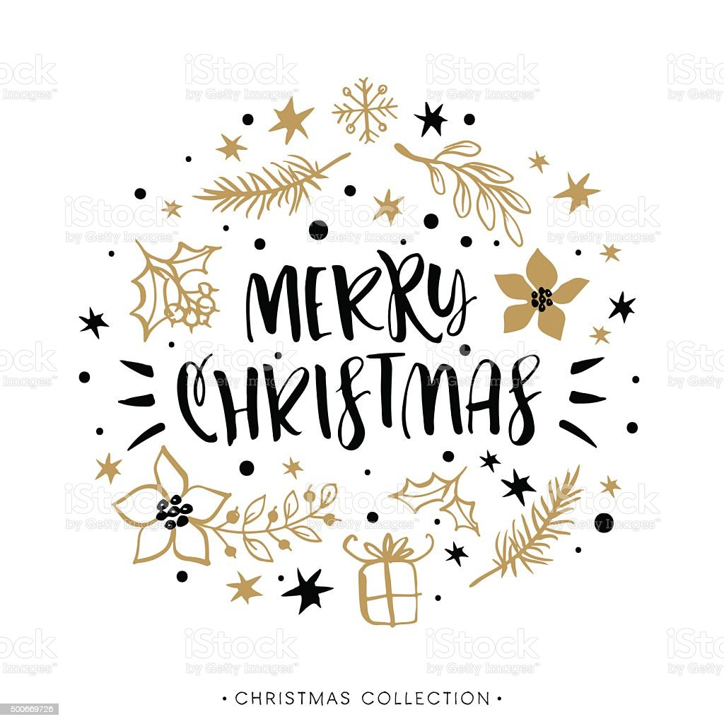 Merry Christmas. Winter Holiday greeting card with calligraphy. vector art illustration