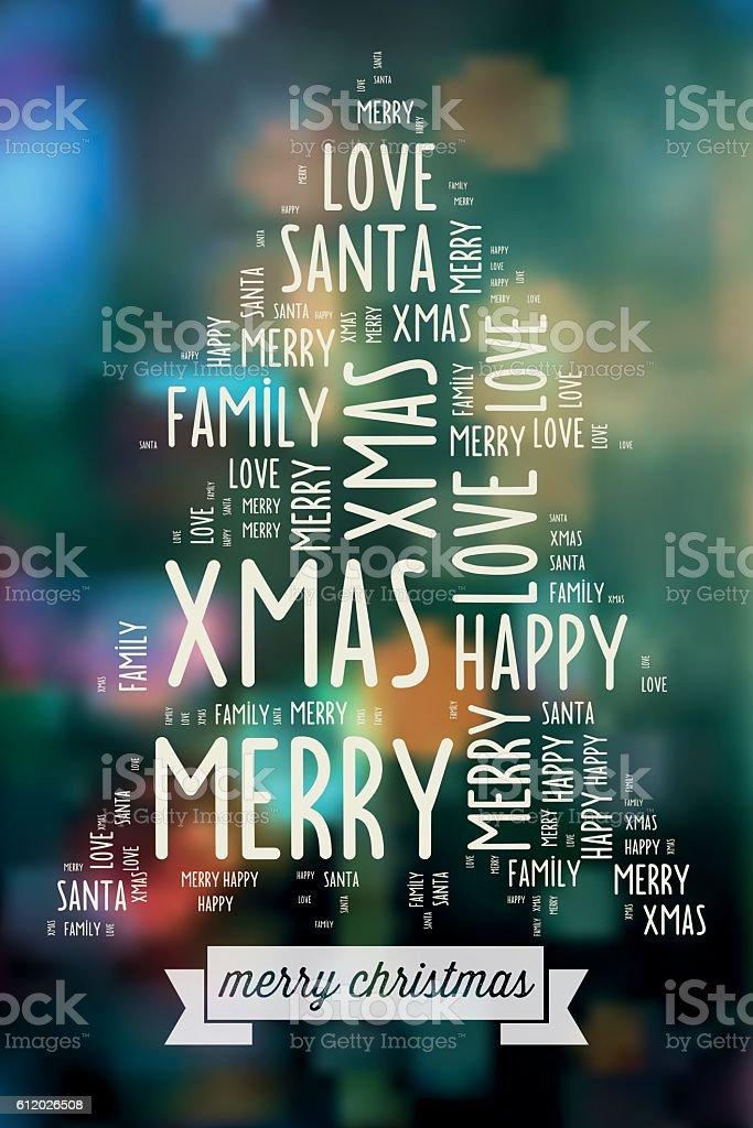 merry christmas wishing words on blurred christmas lights vector art illustration