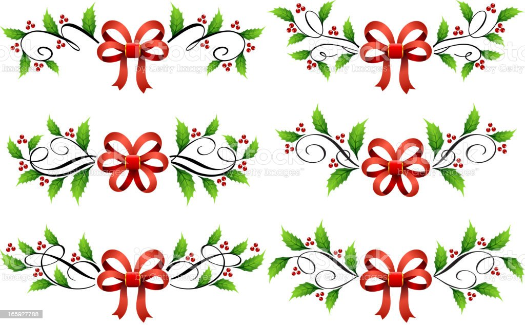 Merry Christmas with Mistletoe and red bows royalty-free stock vector art