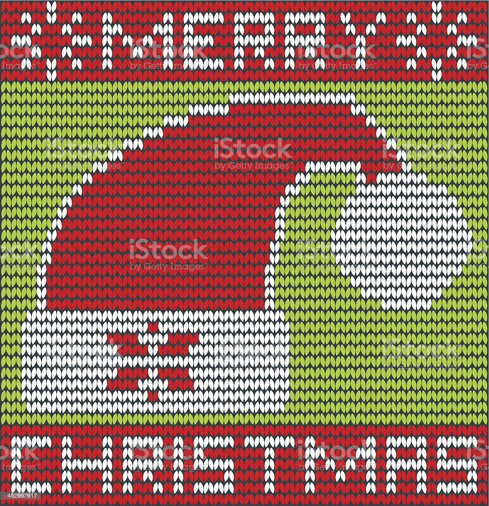 Merry Christmas with santa hat made of wool vector art illustration