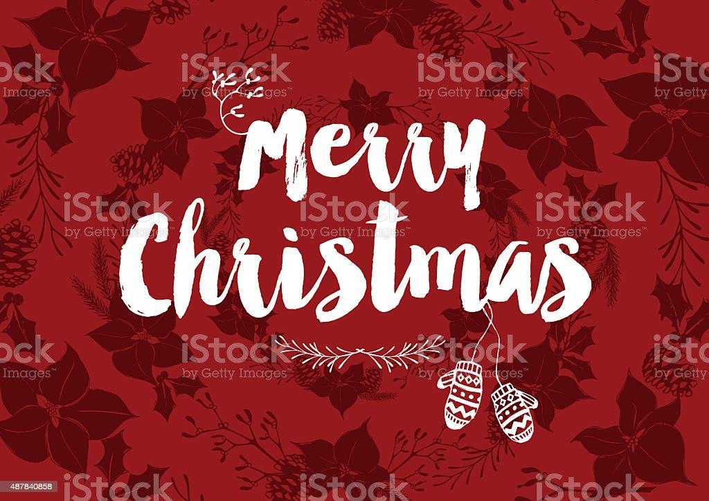 Merry Christmas wreath with mittens & mistletoe vector art illustration