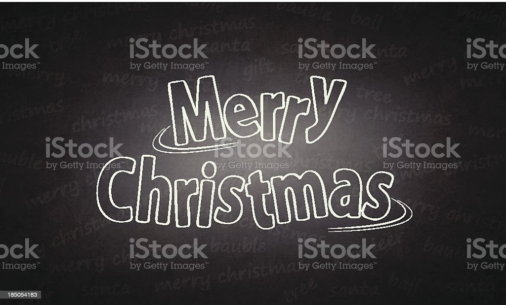 Merry Christmas written on blackboard royalty-free stock vector art