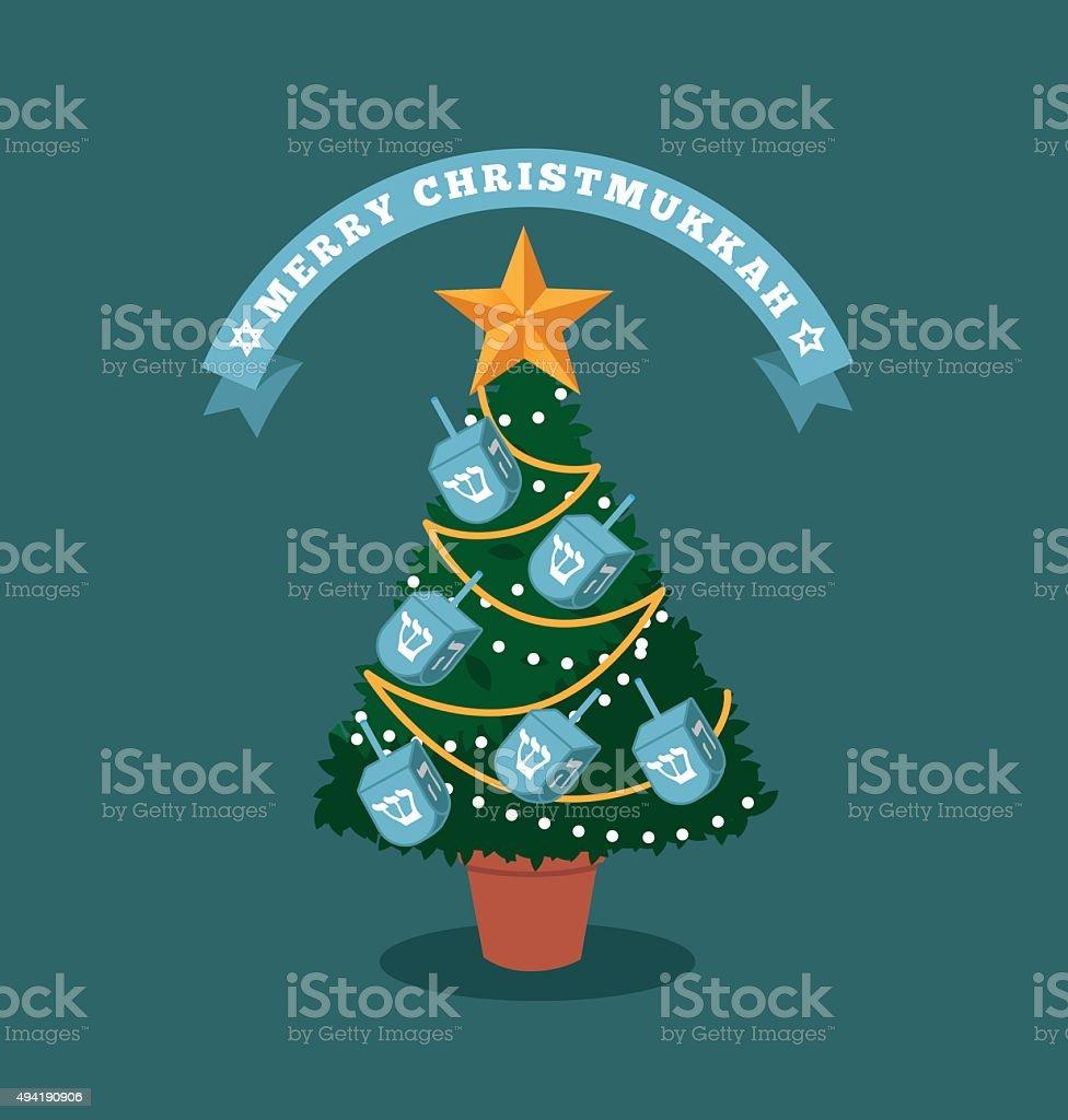 Merry Christmukkah (Christmas and Hanukkah) tree vector art illustration