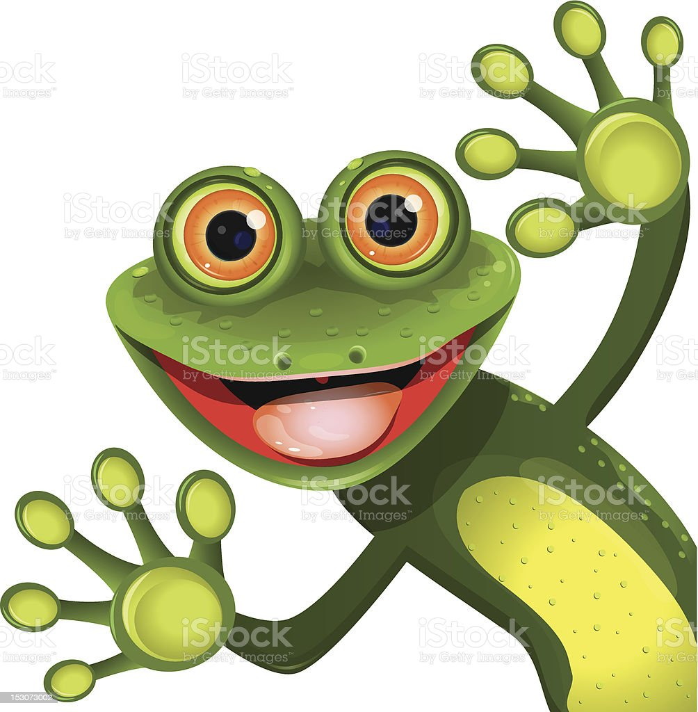 merry green frog royalty-free stock vector art