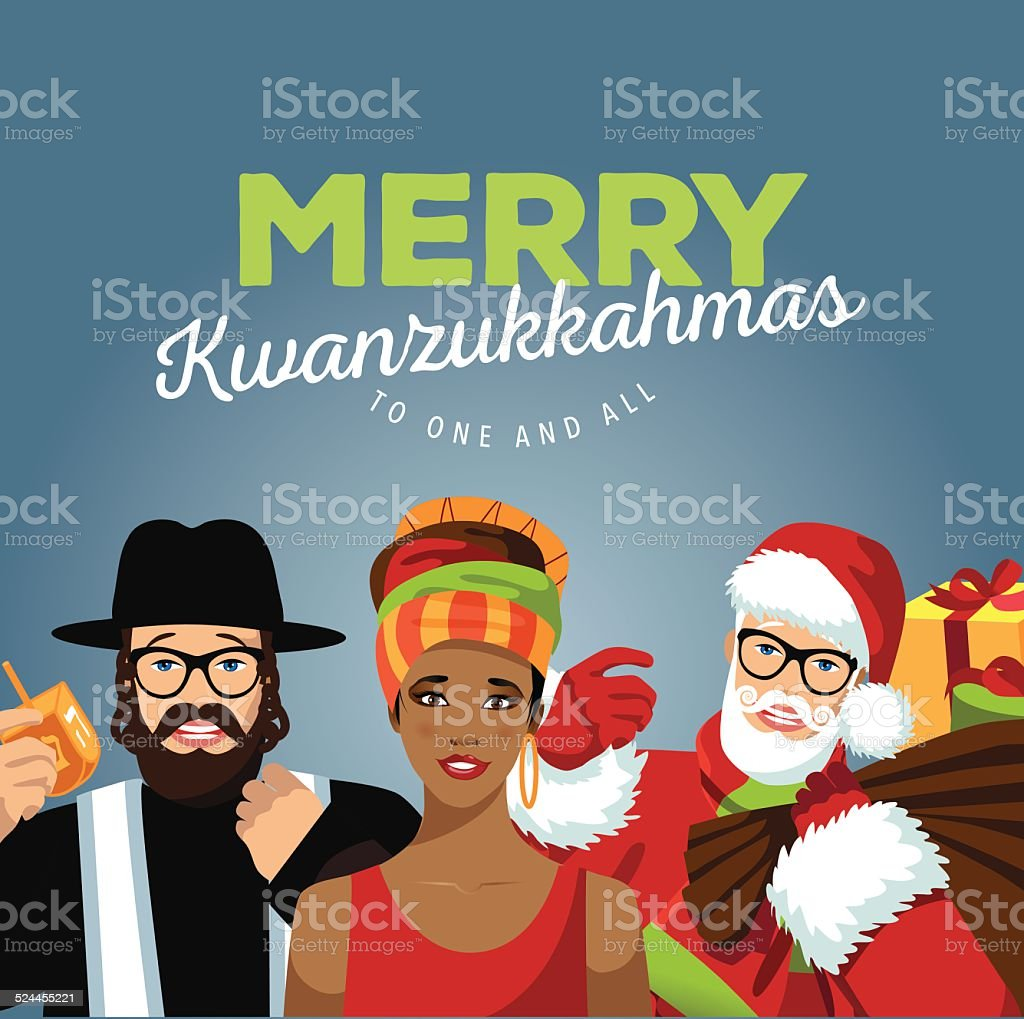 Merry Kwanzukkahmas with Rabbi, Santa and African woman vector art illustration
