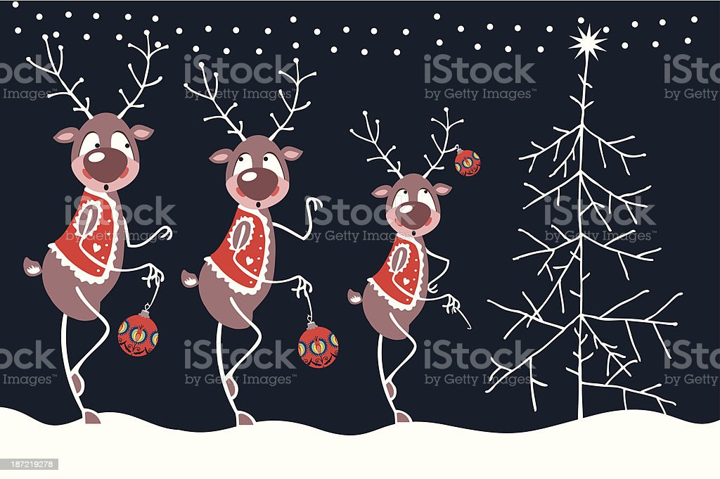 Merry Reindeer And Christmas Tree royalty-free stock vector art