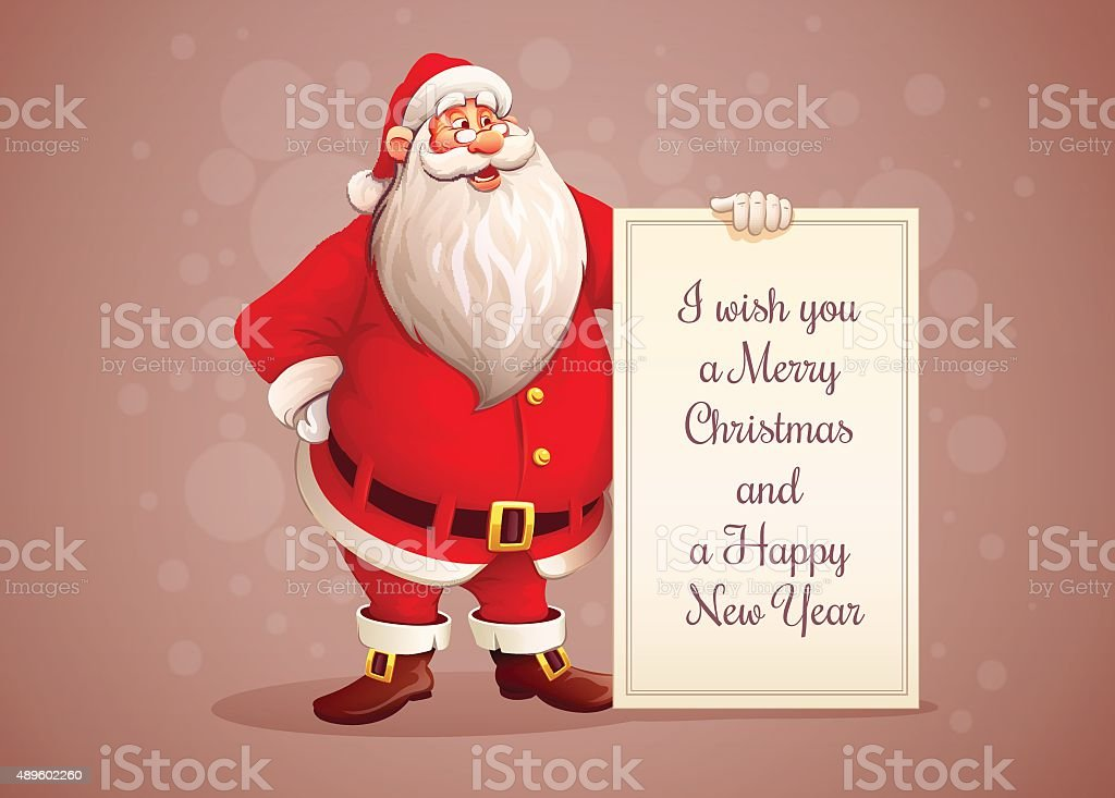 Merry Santa Claus standing with christmas greetings banner in arm vector art illustration