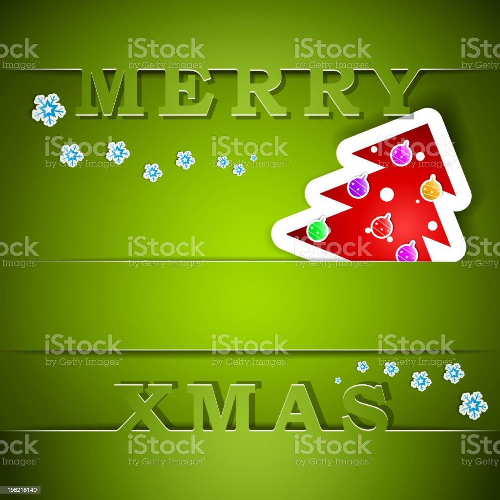Merry Xmas green card with tree royalty-free stock vector art