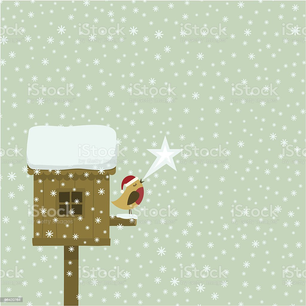 Merry Xmas, robin snowing and christmas star on a birdhouse vector art illustration