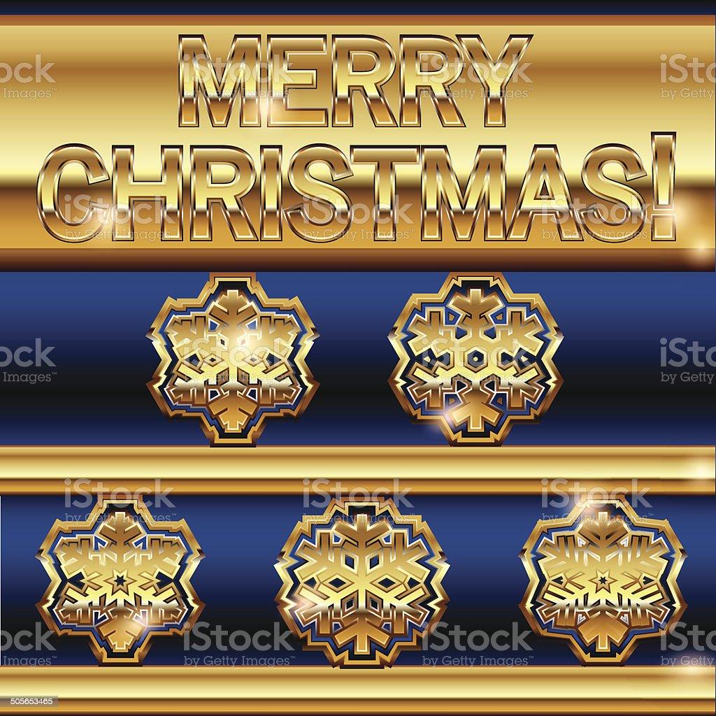 Mery Christmas golden snowflakes background vector art illustration
