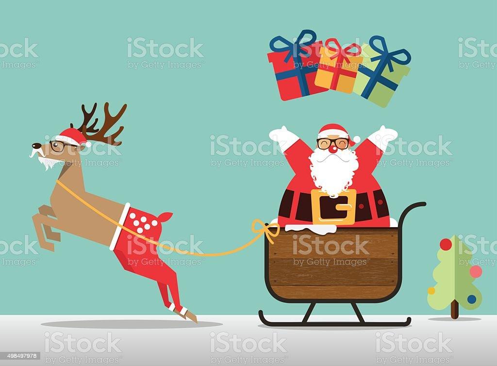 Mery Christmas scene with reindeer and Santa sprinkle the gift. vector art illustration