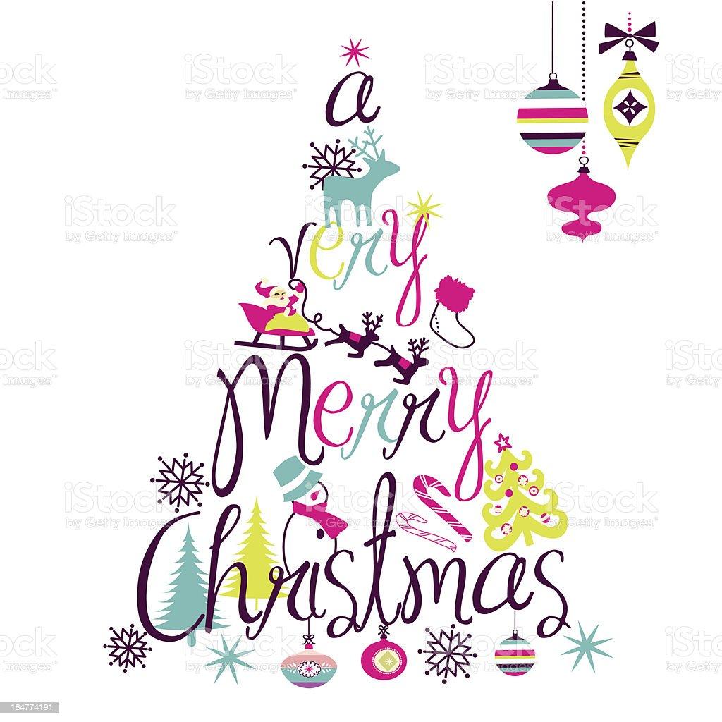 Mery Christmas tree vector art illustration