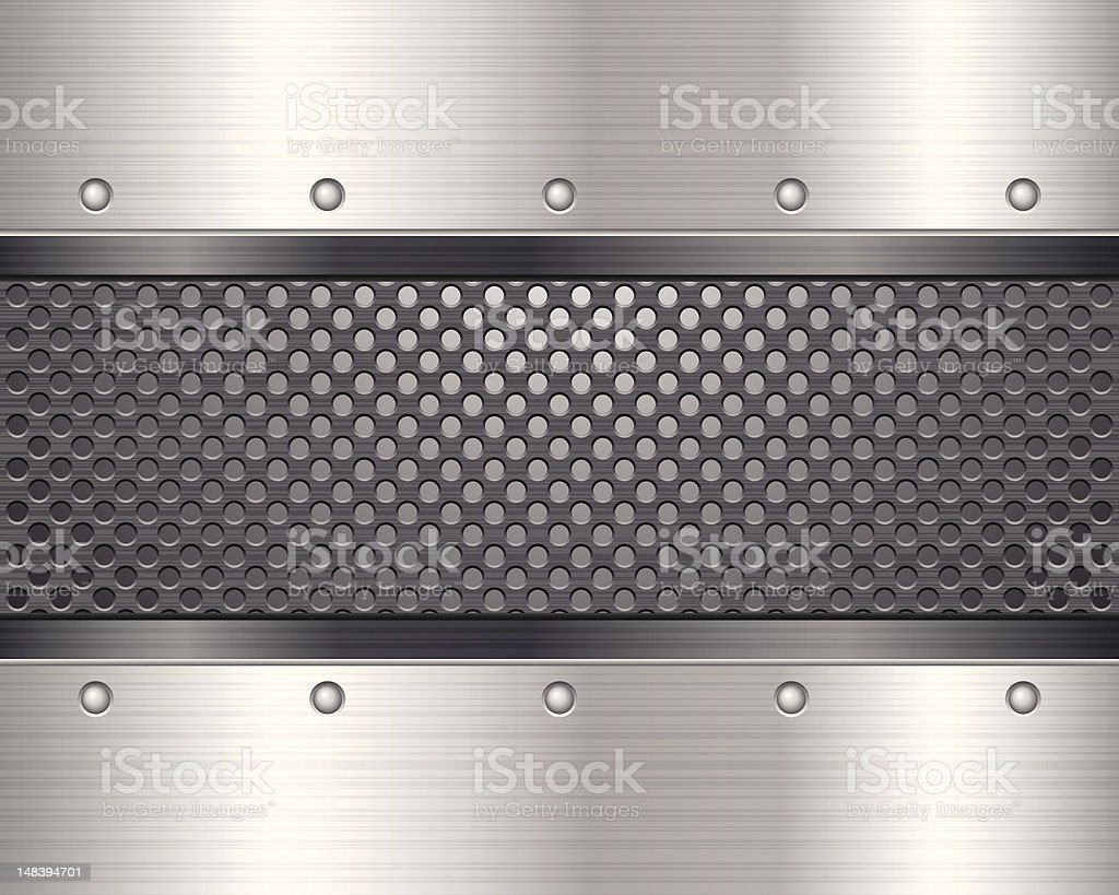 Mesh mental band cutting through solid silver plate royalty-free stock vector art