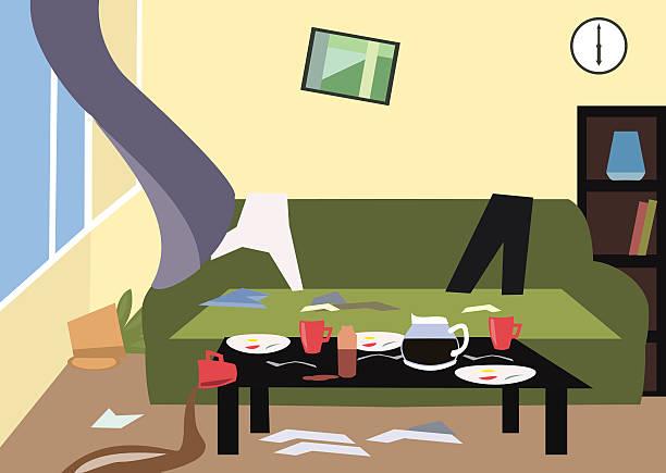 Mess In The Room Cartoon Vector Art Illustration