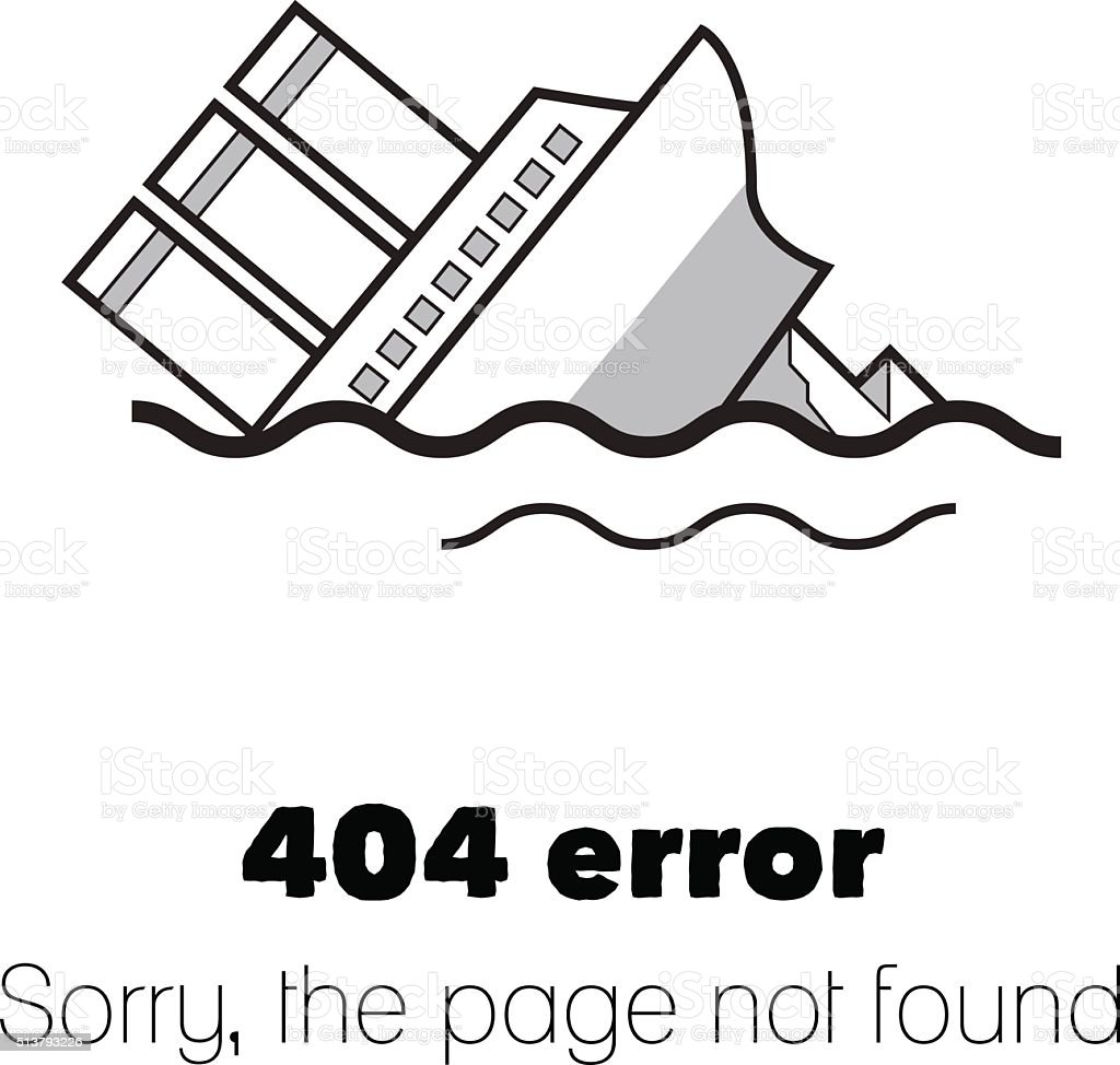 Message about Page not found. Error 404 vector art illustration