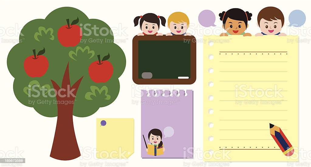 message board with kindergarten kids royalty-free stock vector art