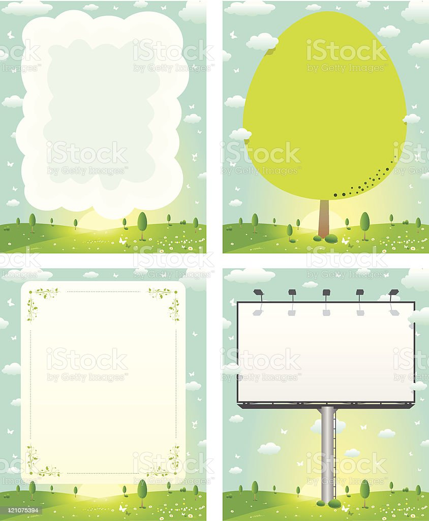 Message Boards in Nature royalty-free stock vector art