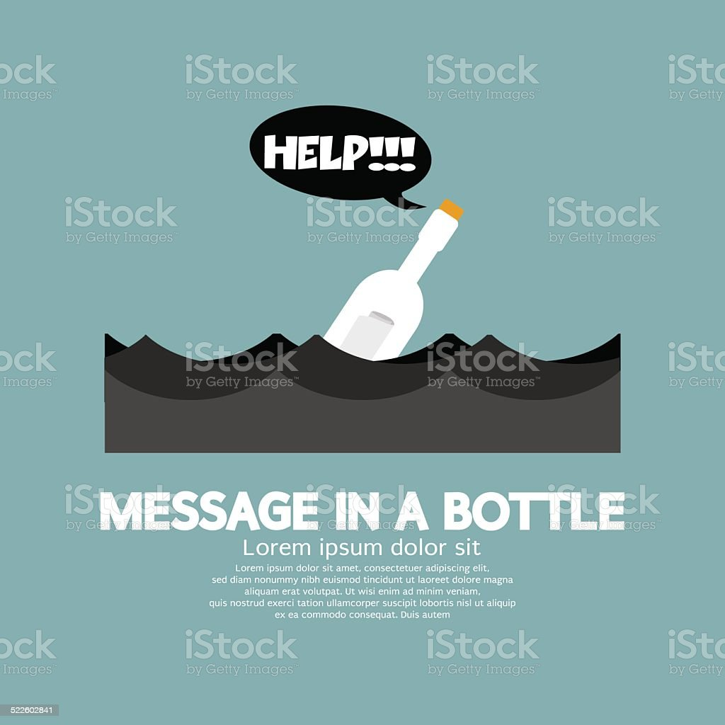 Message in a Bottle Floating In The Sea vector art illustration