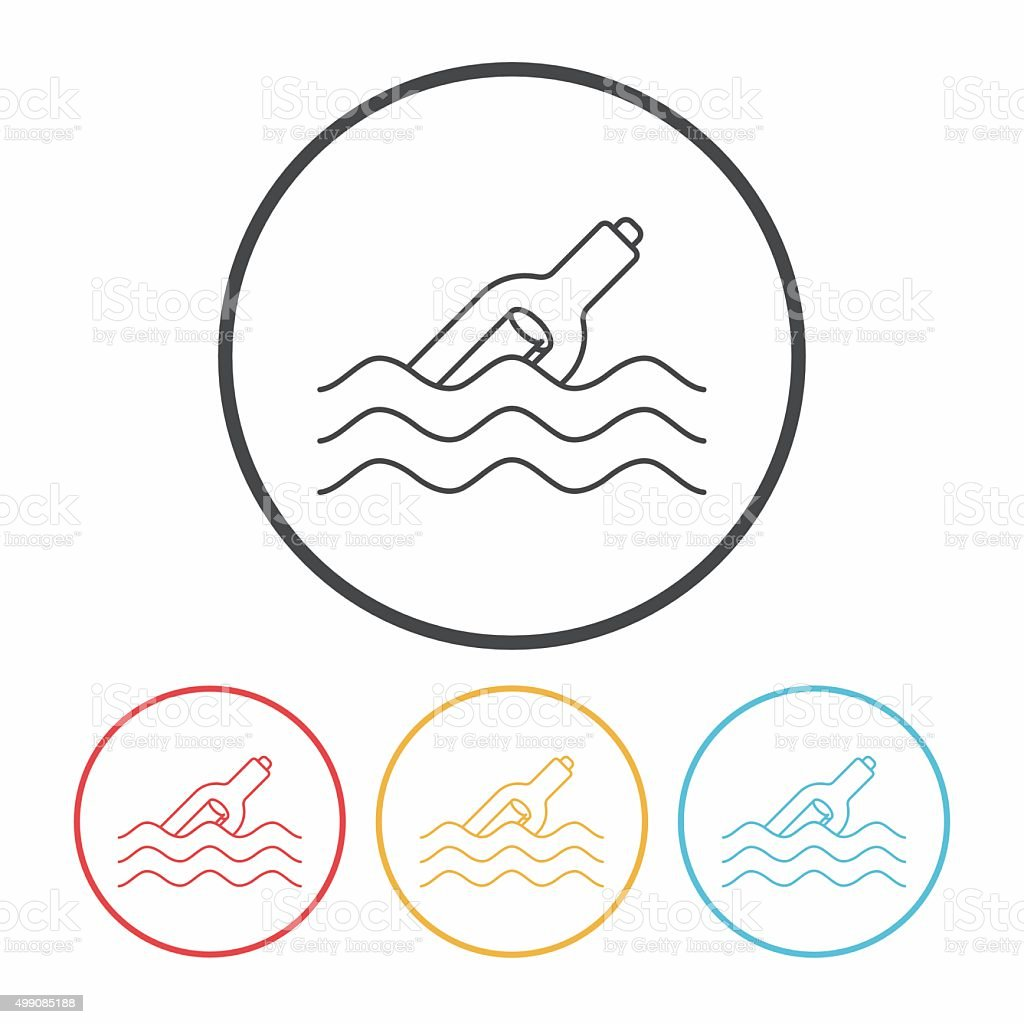 Message in a Bottle line icon vector art illustration