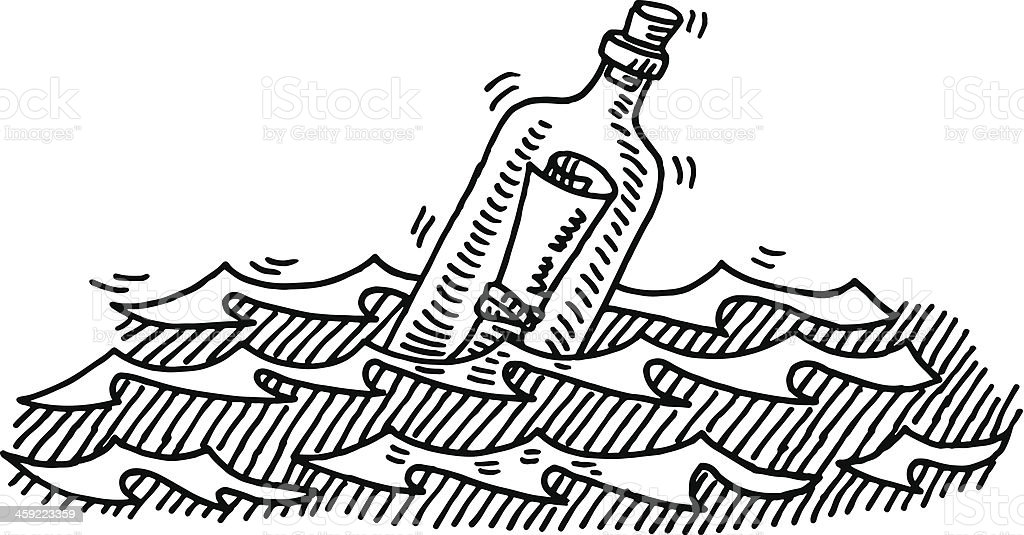 Message In A Bottle Sea Drawing vector art illustration