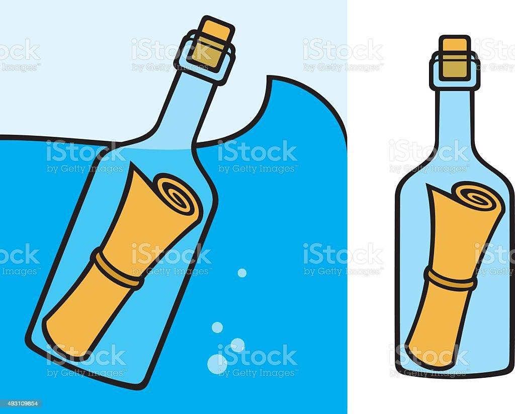 message in a bottle vector art illustration
