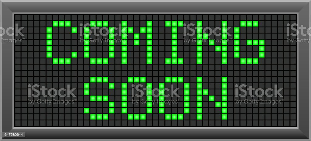 LED message is 'Coming soon' vector art illustration