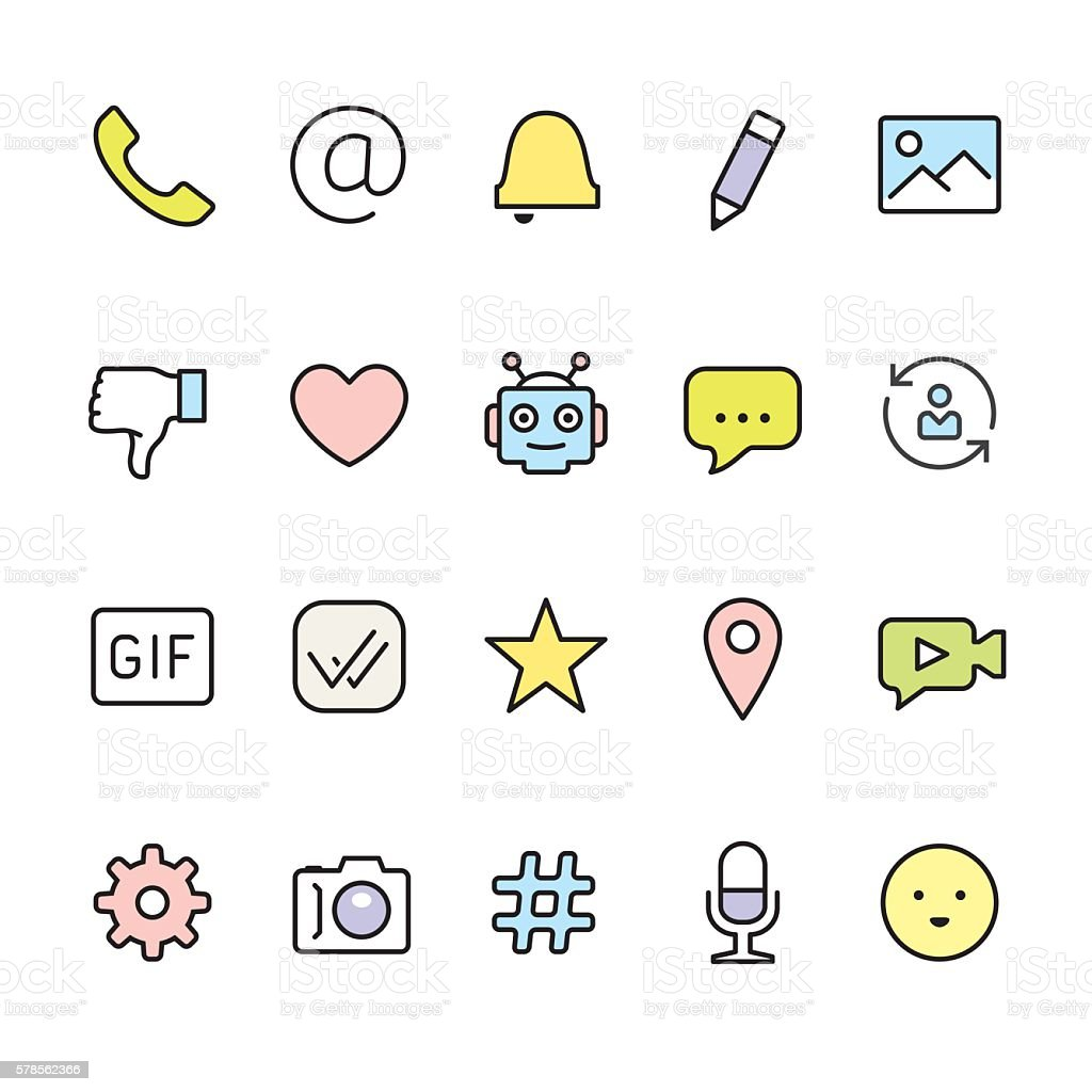 Message pack - outline color vector icons vector art illustration