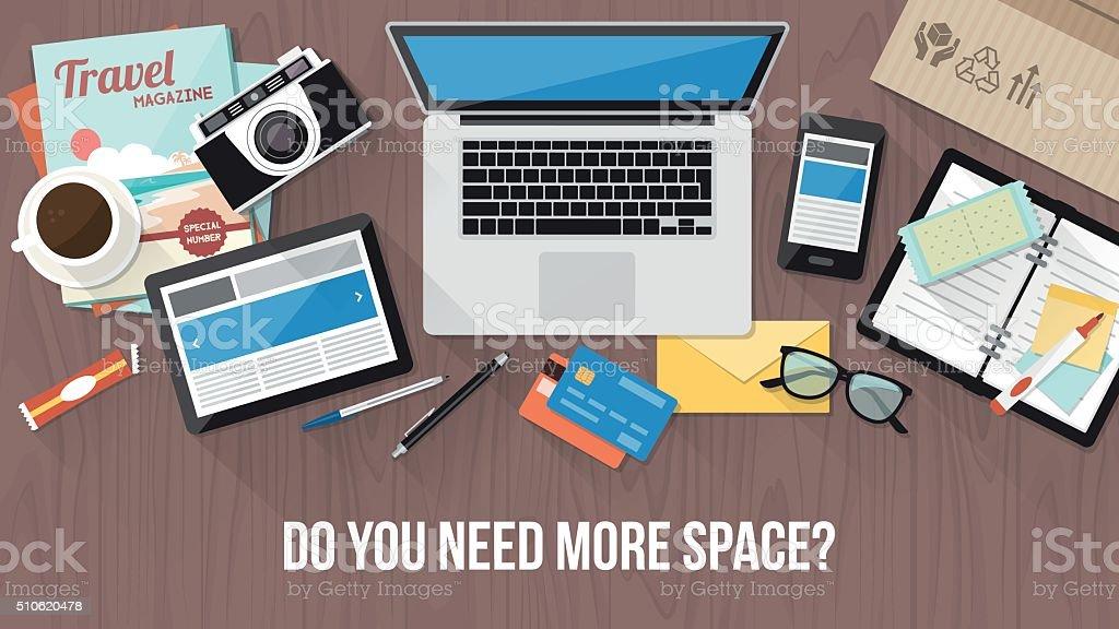 Messy desk vector art illustration