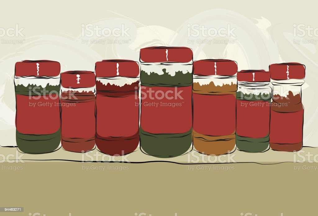 Messy hand drawn collection of spice bottles royalty-free stock vector art