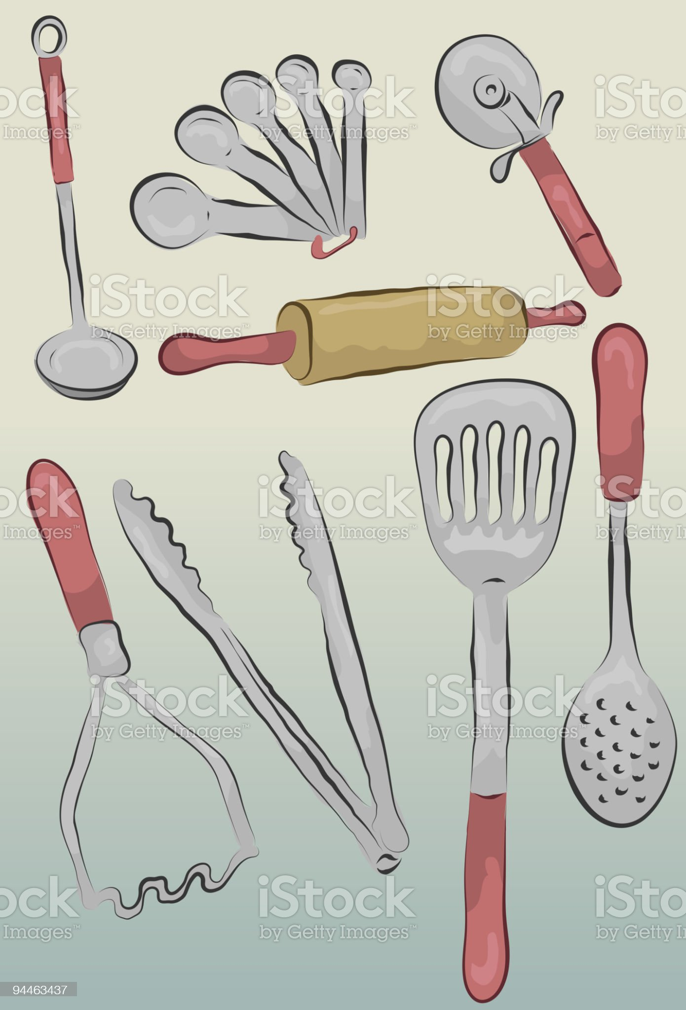Messy hand drawn kitchen items royalty-free stock vector art
