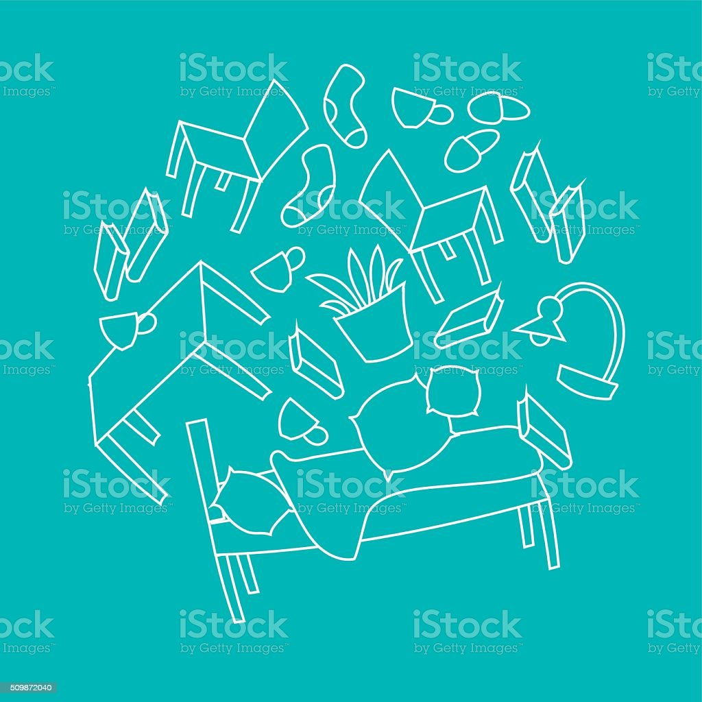 Messy room, furniture pattern. vector art illustration