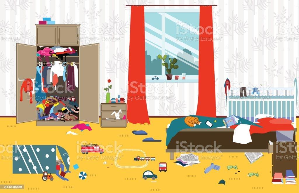 Kleiderschrank comic  Unordentlicher Raum Wo Junge Familie Mit Baby Lebt Unsaubere ...