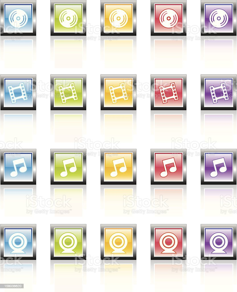 MetaGlass Icons Media royalty-free stock vector art