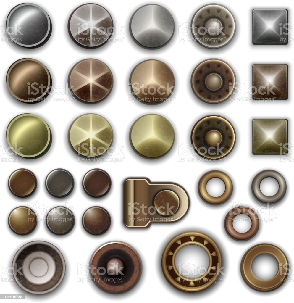 Metal accessories collection vector art illustration