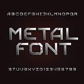 Metal alphabet font. Chrome effect letters.