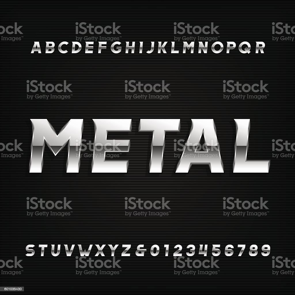 Metal alphabet font. Chrome effect oblique letters and numbers. vector art illustration