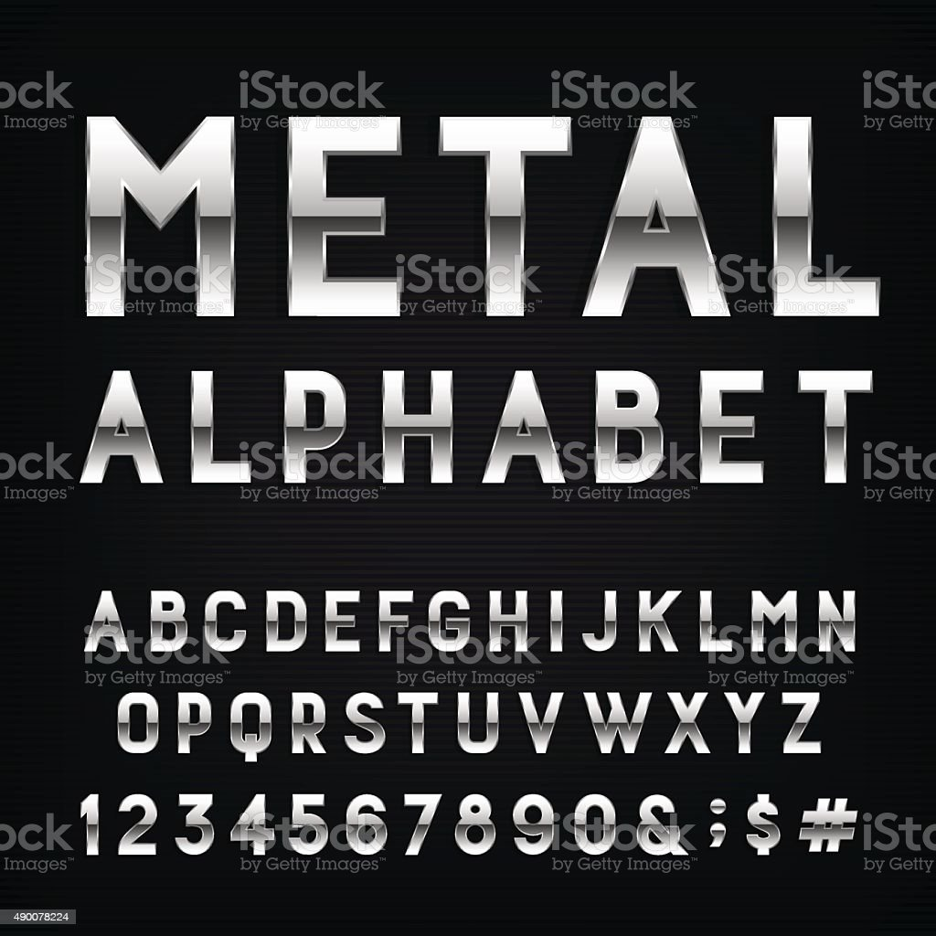 Metal Alphabet Vector Font. vector art illustration