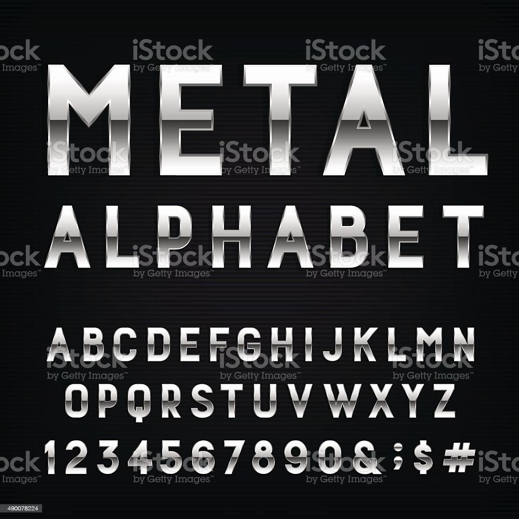 Metal Alphabet Vector Font. vector art illustration