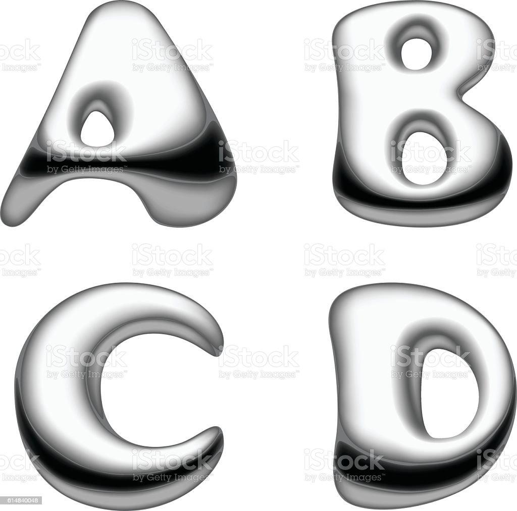 Metal and liquid mercury Alphabet capital letters set isolated. vector art illustration
