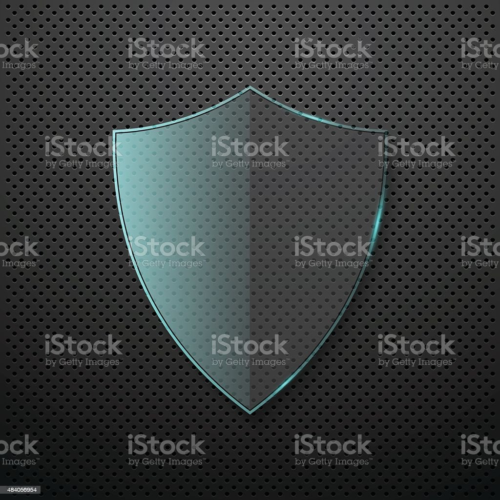 Metal background with glass shield. Vector vector art illustration