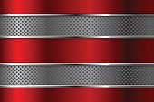 Metal background with red elements and perforation