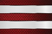 Metal background with red perforation